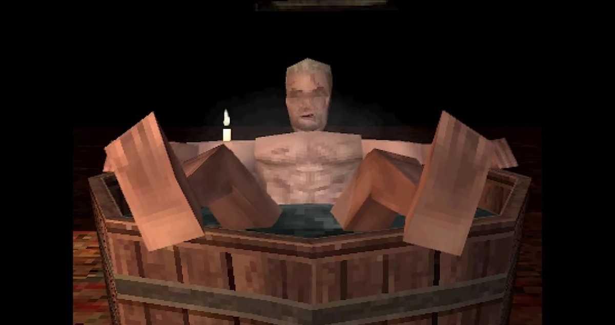 The Witcher 3: la escena del baño de Geralt of Rivia recreada con gráficos de PS1 (video)